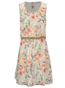 Krémové kvetované šaty s čipkou Haily's Jana