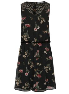 Čierne kvetované šaty s čipkou Haily's Jana