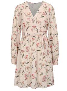 Svetloružové kvetované šaty s prekladaným výstrihom Haily's Lena