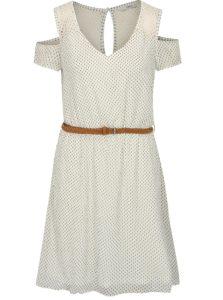 Hnedo-biele vzorované šaty s opaskom a prestrihmi na ramenách ONLY Zoe