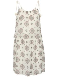 Biele vzorované šaty s brmbolcami ONLY Zoe