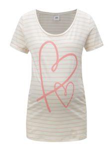 Ružovo-krémové pruhované tehotenské tričko Mama.licious Heart
