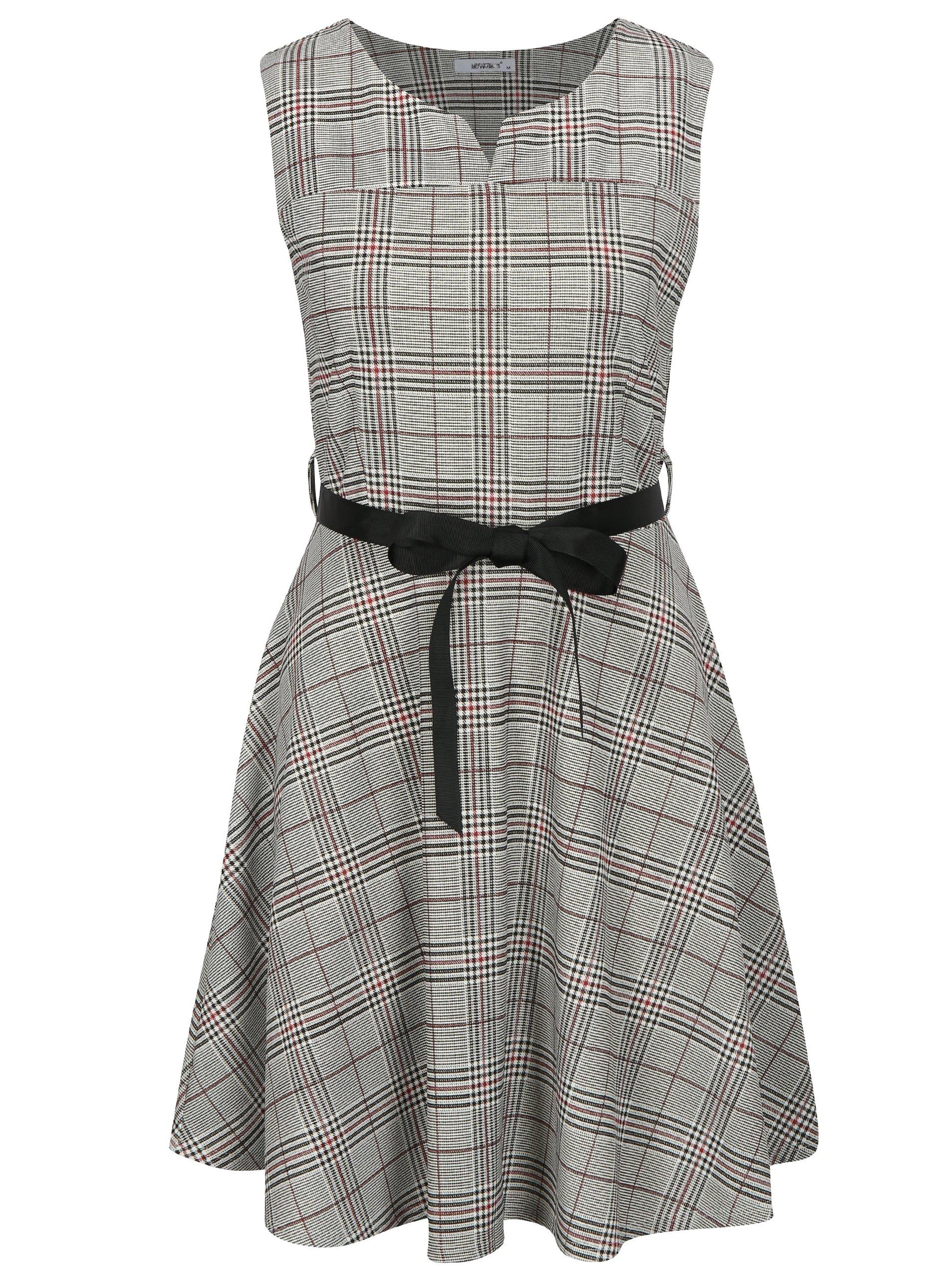 8f24cdedb494 Sivé kárované šaty Haily s Charlotte
