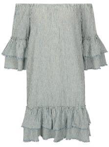 Krémovo-modré ľanové pruhované šaty s odhalenými ramenami ONLY Cecilia