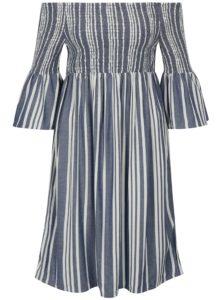 Krémovo-modré pruhované šaty s odhalenými ramenami Jacqueline de Yong Celest