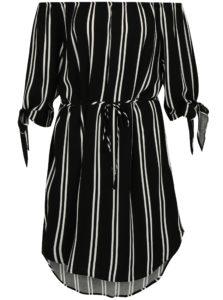 Bielo-čierne pruhované šaty s odhalenými ramenami Jacqueline de Yong Victory