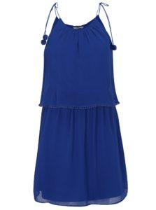 Modré šaty s brmbolcami ONLY Zoe