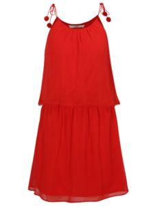 Červené šaty s brmbolcami ONLY Zoe