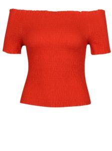 Červený crop top s odhalenými ramenami VERO MODA Mock