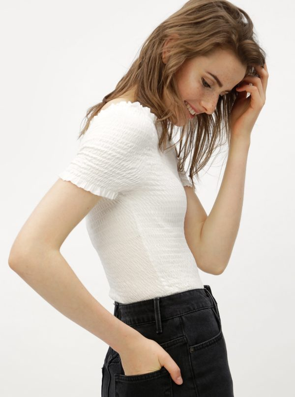 Biely crop top s odhalenými ramenami VERO MODA Mock