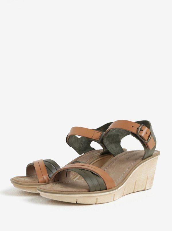 d8b240532c55 Hnedo-zelené dámske kožené sandálky na platforme Weinbrenner