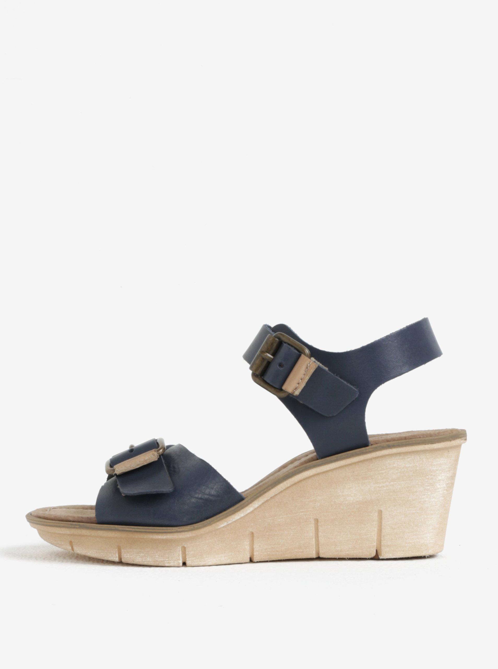 8e92c22dfc26 Modré kožené sandálky na platforme Weinbrenner