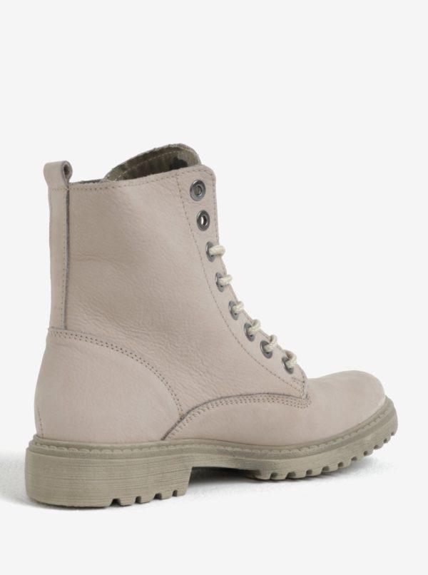 Béžové dámske kožené členkové topánky Weinbrenner