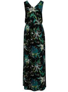 Zeleno–čierne kvetované maxišaty VERO MODA Simply