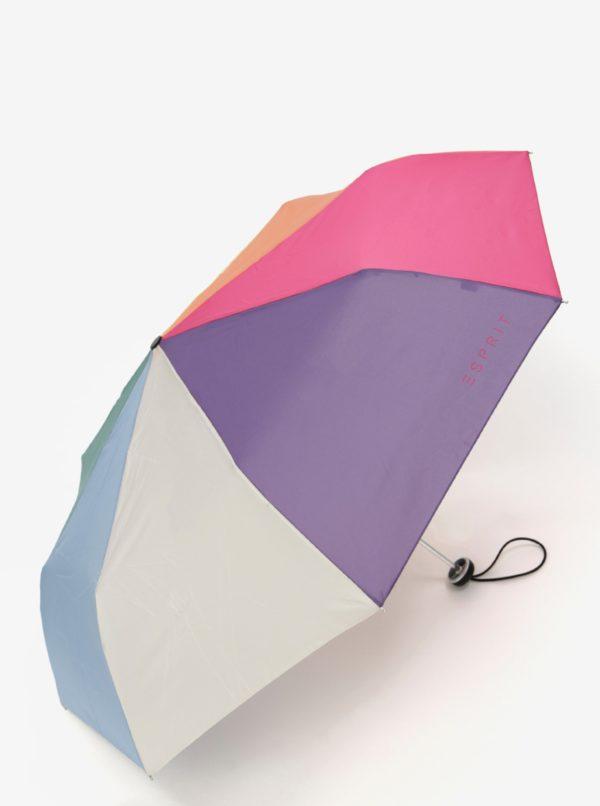 Ružovo-modrý skladací dáždnik Esprit ALU