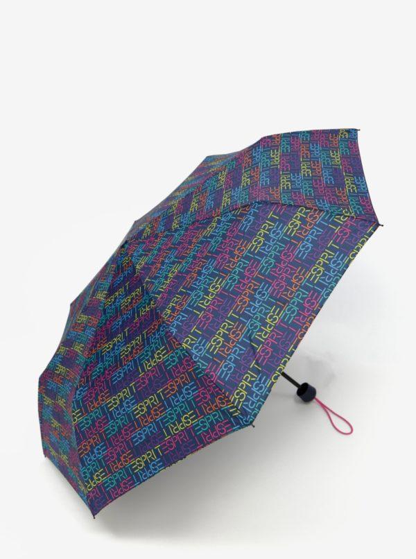 Tmavomodrý dáždnik s taškou 2v1 Esprit Dots & Dots