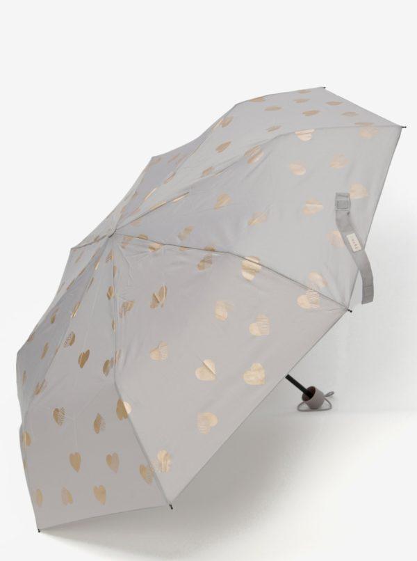 Sivý vzorovaný skladací dáždnik Esprit Super Mini Flower & Birds