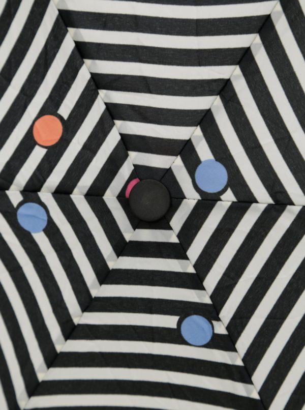 Krémovo-čierny pruhovaný skladací dáždnik Esprit Dots & Dots