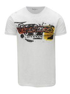 Biele pánske tričko s potlačou Pepe Jeans Amersham