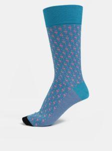 Tyrkysové pánske vzorované ponožky Happy Socks Dressed Flamingo