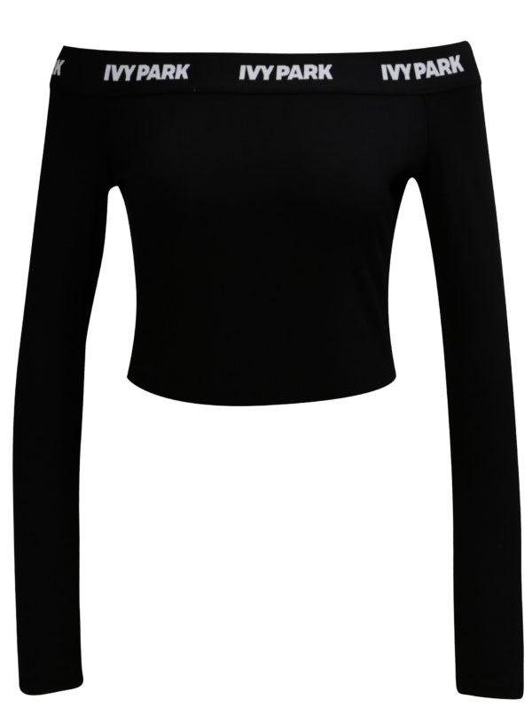 Čierny crop top s odhalenými ramenami Ivy Park