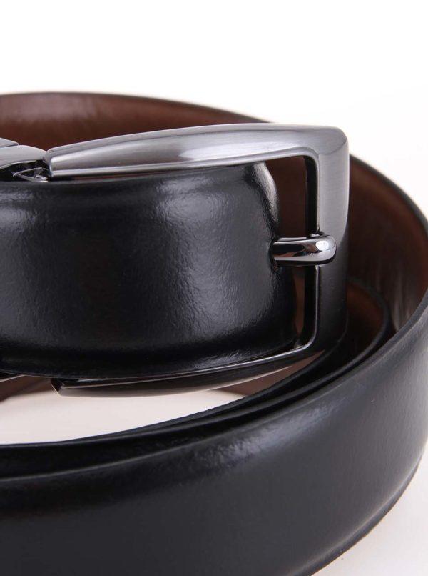 Hnedo-čierny obojstranný pánsky kožený opasok Dice Idaho