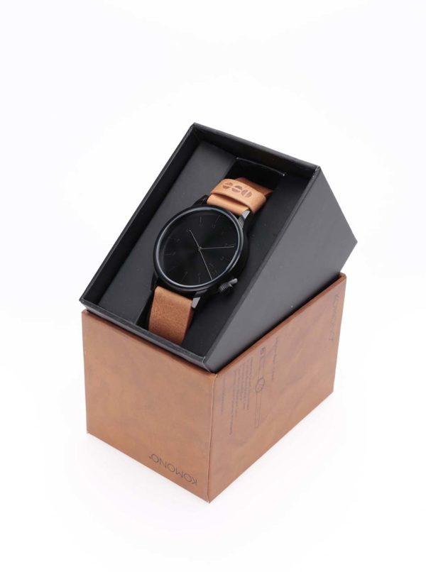 Čierne unisex hodinky s hnedým koženým remienkom Komono Winston Regal