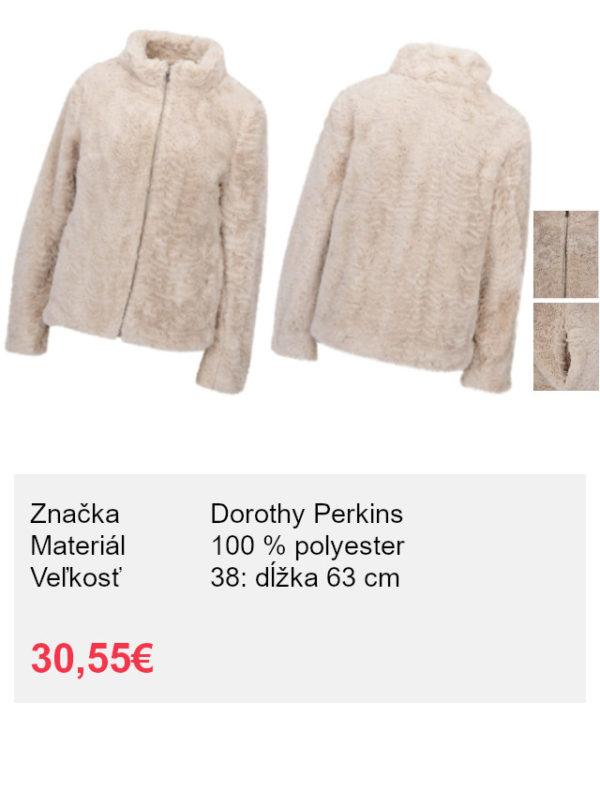 Béžová bunda z umelej kožušiny Dorothy Perkins