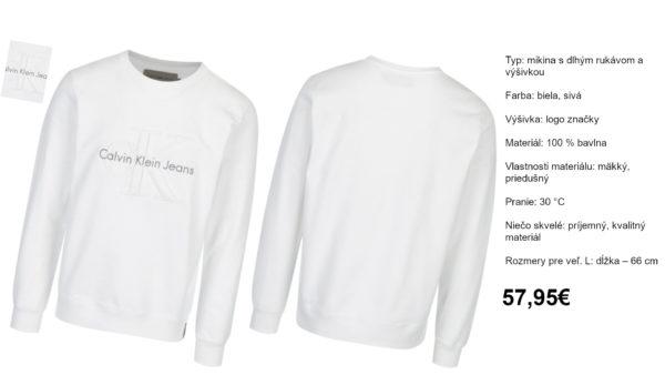 Biela pánska mikina s výšivkou Calvin Klein Jeans Hasto