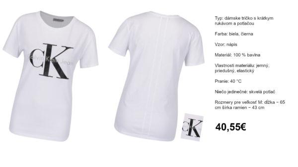 Biele dámske tričko Calvin Klein Jeans Shrunken