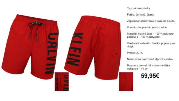 Červené pánske plavky Calvin Klein