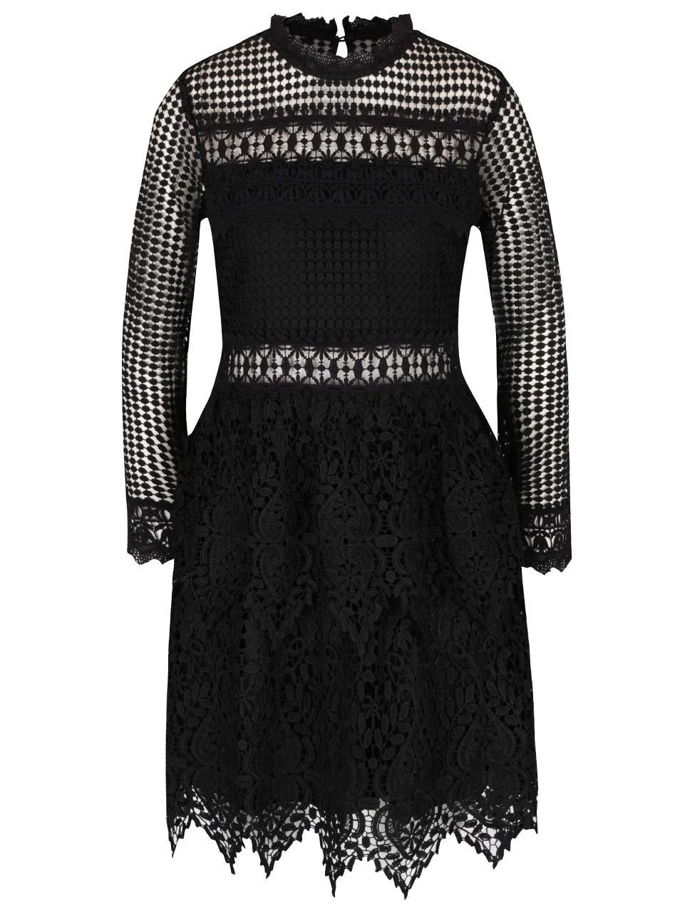 Čierne čipkované šaty s dlhým rukávom Miss Selfridge  b1322e2e959