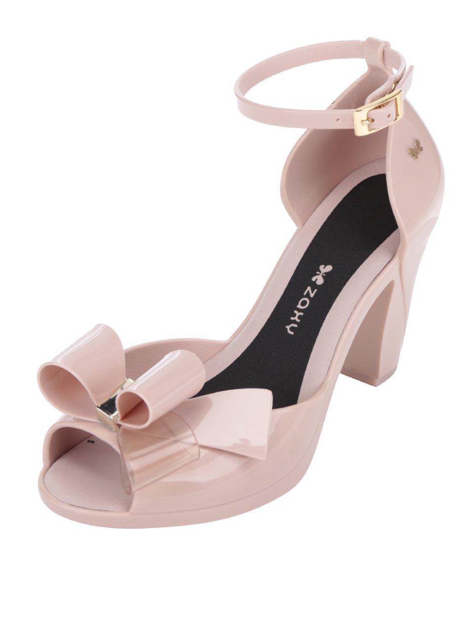 aaee41725525 Ružové sandále na podpätku s mašľou Zaxy
