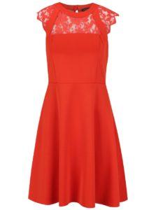 Červené šaty s čipkovaným sedom Dorothy Perkins