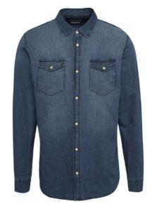 Tmavomodrá rifľová slim fit košeľa Jack & Jones One