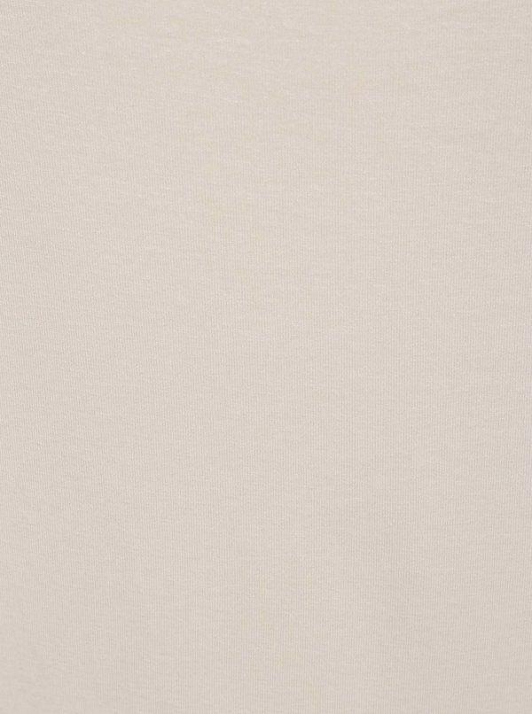 Béžové tričko s pásikmi v dekolte a 3/4 rukávom ZOOT