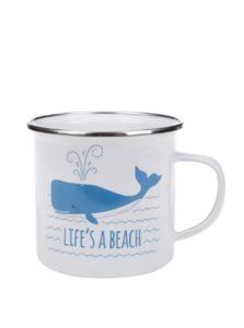 Biely plechový hrnček s potlačou veľryby Sass & Belle