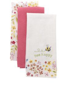 Súprava troch kvetovaných utierok v ružovej a krémovej farbe Cooksmart
