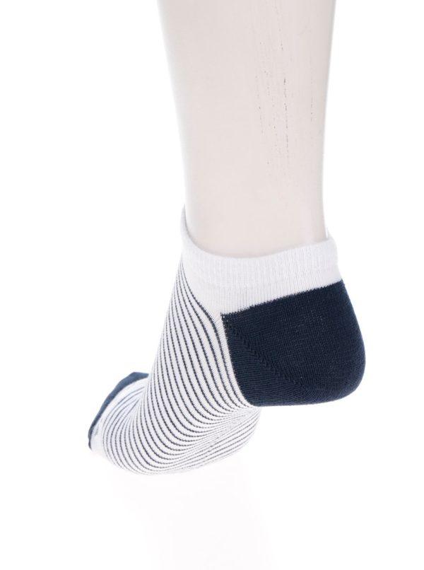 Modro-biele unisex členkové ponožky s pruhmi Fusakle Pohoďák prímorský