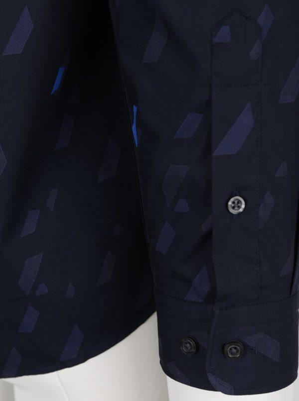 Tmavomodrá vzorovaná košeľa Jack & Jones Premium Geometric Rain