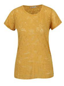 Horčicové dámske tričko s priesvitnými detailmi Garcia Jeans