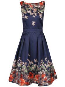 Tmavomodré šaty s potlačou kvetín Mela London