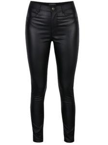 Čierne lesklé skinny nohavice Dorothy Perkins