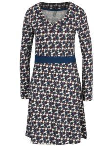 Krémovo-sivé bodkované šaty s véčkovým výstrihom Tranquillo Gainko