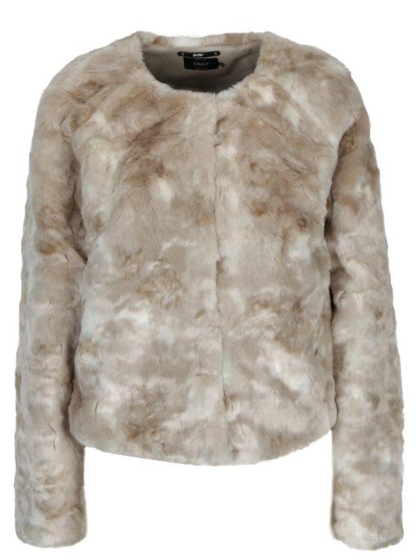 Béžový krátky kabát z umelej kožušiny ONLY Winnie