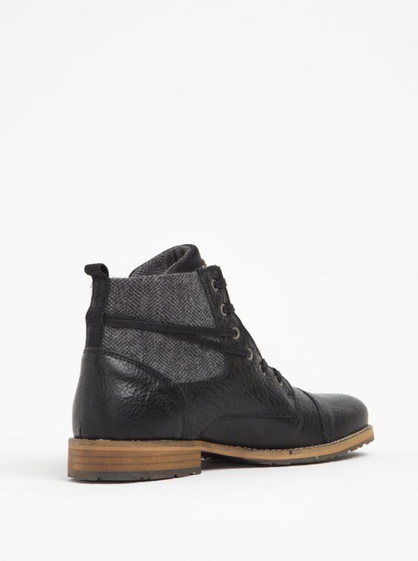Čierne pánske kožené členkové topánky s textilnou vsadkou Bullboxer