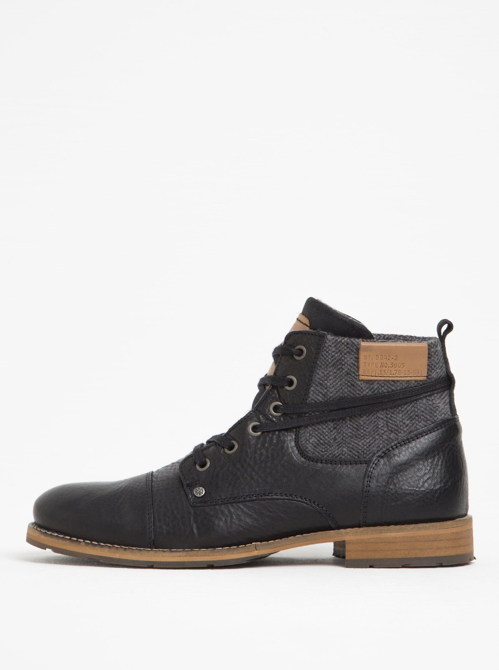 8a6f32febf Čierne pánske kožené členkové topánky s textilnou vsadkou Bullboxer ...