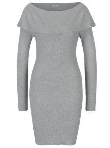 Sivé svetrové šaty s lodičkovým výstrihom Haily´s Leonie