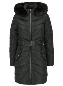 Kaki prešívaný kabát s umelým kožúškom Dorothy Perkins