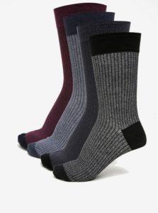 Súprava štyroch párov vzorovaných ponožiek vo vínovej a modrej farbe Burton Menswear London